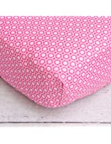 Caden Lane Pink Flower Crib Sheet, Preppy Pink