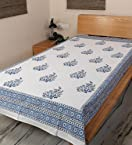 Rajrang White Blue Hand Block Jaipuri Printed Single Bedsheet Set