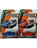 2015 Matchbox Mbx Explorers 2014 Chevy Silverado 1500 (Blue & Red) Set Of 2!