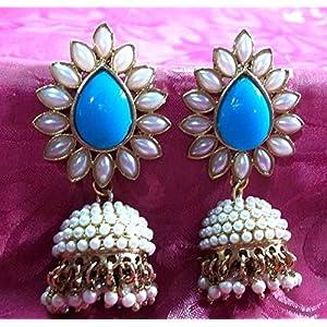 Aashiqui 2 earrings sky blue polki pearls jhumka earrings