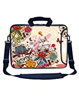 Meffort Inc 15 15.6 inch Neoprene Laptop Bag Sleeve with Extra Side Pocket, Soft Carrying Handle & Removable Shoulder Strap for 14 to 15.6 Size Notebook Computer (Colorful Flower Butterfly)