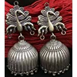 Oxidised german silver jhumka with pure silver coating - ABJ02