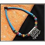 Blue thread choker with gungroo pendant