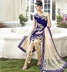 Exclusive Blue Emboridered Designer Straight Suit JN1133