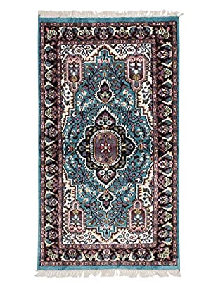 eCarpet Gallery One-of-a-Kind Hand-Knotted Kashmir Rug, Cyan, 2' 11