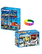 Playmobil Cargo Transportation Set Includes: Loading Terminal And Cargo Loading Team With Dimple Bracelet