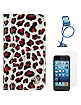 VanGoddy Leopard Print Mary Portfolio Self Stand Case Cover For Apple iPhone 5S / 5G (White) + Long Flexible Stand + Matte Screen