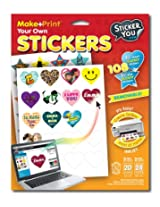 "StickerYou Make+Print Heart 1.75"" and Star 1.5"" Glossy Stickers (Pack of 108 stickers)"