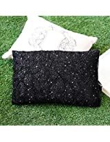 Beaded And Sequins Work Cushion Cover Black from Ultra-Snob