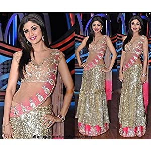 shilpa lehanga cream and pink color net fabric sequins work lehanga with sattin inner and net fabric beige and pink dupatta having zari work on it. net fabric blouse with inner. Like