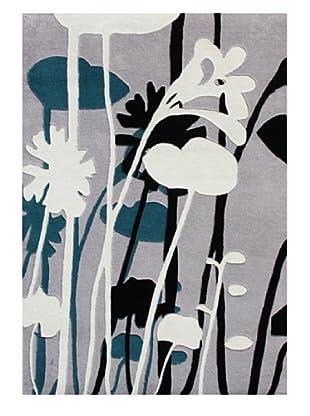 Horizon Floral Outline Rug (Ivory/Black/Sea Blue)