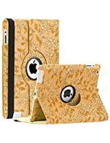 SAVEICON (TM) Leopard Rose Flower Map Pattern 360 Degrees Swivel Rotating PU Leather Case Smart Cover with Stand and Sleep/Wake Function for Apple iPad 4 with Retina Display, iPad 3, iPad 2 (iPad 4/iPad 3/iPad 2, Pattern K)