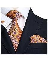 Landisun 90T Orange Paisley Mens Silk Tie Set: Tie+Hanky+Cufflinks Seven Fold, 3.25