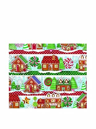 Punch Studio Set of 8 Continuous Roll Gift Wrap (Gingerbread Houses)