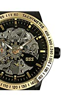 ESS Men's Transparent Dial Leather Mechanical Watch WM319 Gold