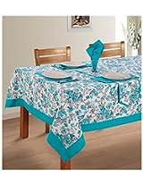 SWAYAM Cotton 8 Piece Kitchen Linen Set - Blue & Grey