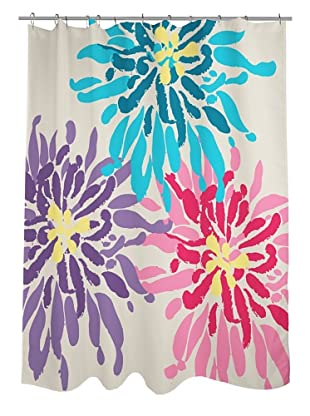 One Bella Casa Lowell Flower Shower Curtain, Purple/Pink/Blue