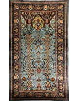 Exotic India Turquoise Carpet from Kashmir with Knotted Flowers and Paisleys - Pure Silk on Cotton