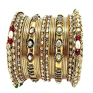 9blings bridal collection multi colour gold plated 20pc enamel cz bangle for women l18