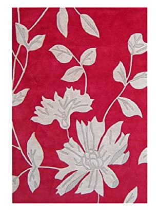 Horizon Alliyah Collection Rug Leaves Rug (Red/Grey)