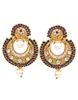 Surat Diamonds Purple White Stone,Gold Plated Chandbali Dangle&Drop Earrings for Women (PSE8)