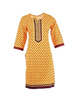 Karni Women's Cotton Yellow & Brown Kurti