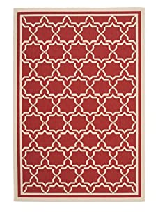 Indoor/Outdoor Medallion Rug (Red/Bone)