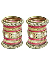 DollsofIndia Two Sets of Golden with Red Glitter Bangles - Metal - Golden