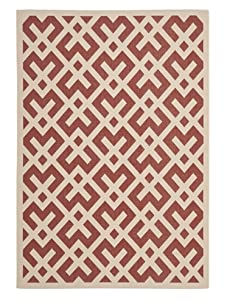 Indoor/Outdoor Graphic Pattern Rug (Red/Bone)