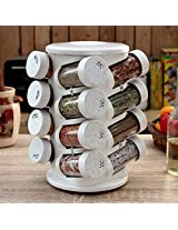 Pebbleyard Plastic Spice Tower, 100 ml, 16-Piece, White