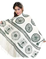 Exotic India Womens Poly Cotton Shawls ,White ,Free Size