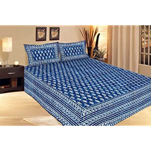 Traditional Jaipuri Daabu Print Double Bed Sheet Bed Cover Bed Linen SRA2059