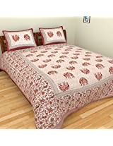 ROOPGOVIND 300 TC Cotton Bedsheet with 2 Pillow Covers - Classic, King Size, Multicolour