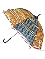 Indian Traditional Embroidery work Sequins Work Silk Umbrella Parasol 30 X 34 Inches