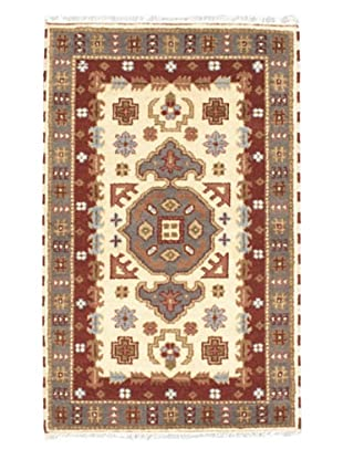 Hand-Knotted Royal Kazak Rug, Cream, 3' x 4' 10