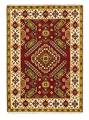 Hand-Knotted Royal Kazak Rug, Cream/Dark Red, 4' 2