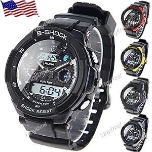 US ALIKE Mens Boy Waterproof Digital Watch Quartz Analog Wristwatch 5 Color