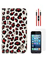 VanGoddy Leopard Print Mary Portfolio Self Stand Case Cover For Apple iPhone 5S / 5G (White) + AUX Cable + Matte Screen