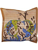 Golden-Brown Cushion Cover with Printed Fishes - Pure Cotton