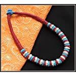 Maroon thread choker with multiple color beads