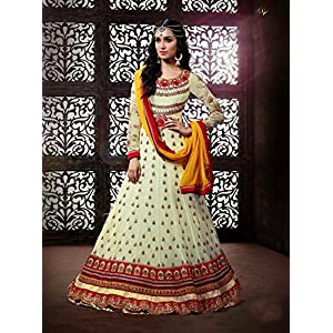 Ethnic Fire Unstitched Anarkali Suit - Peach & White