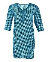 2Dots Women's Cotton Regular Fit Kurti (Blue, 36 Inches)