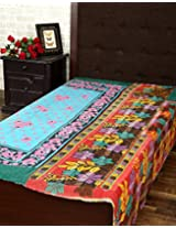 Decorative Single Gudri Blue Cotton Vintage Kantha Work Throw Blanket By Rajrang