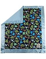 My Blankee Dino Minky Midnight w/ Minky Dot Blue Baby Blanket, 30