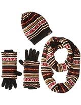 Muk Luks Women's Reversible Beanie Scarf and Glove Three-Piece Gift Set
