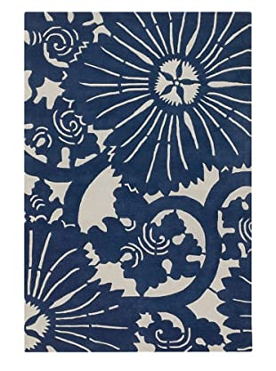 Chandra Counterfeit Studio Hand Tufted Wool Rug (Navy/White)