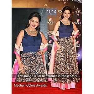 Madhuri Dixit Navy Blue Long Anarkali Suit