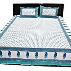 Amazing Jaipuri Sanagari Print Double Bed Sheet With Two Pillow Covers