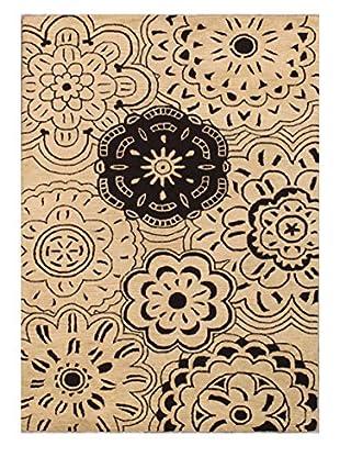 Floral Medallion Rug, Tan, 5' x 8'