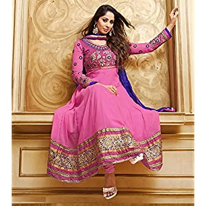 Sangeeta Ghosh Georgette Embroidered Pink Semi Stitched Long Anarkali Suit By Fabfiza